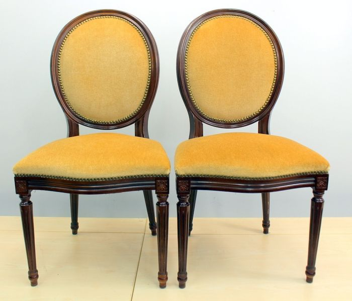Pair of medallion chairs with velor upholstery