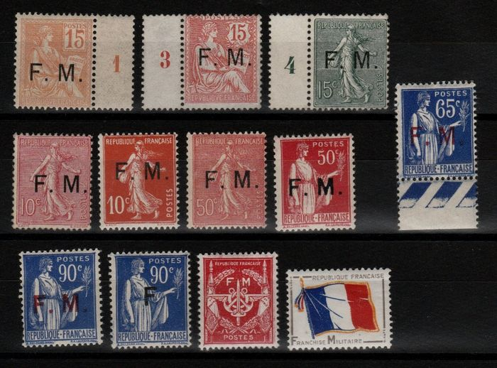 France 1901/1964 - Military postage stamps - Yvert n°1 à 10 + 12/13