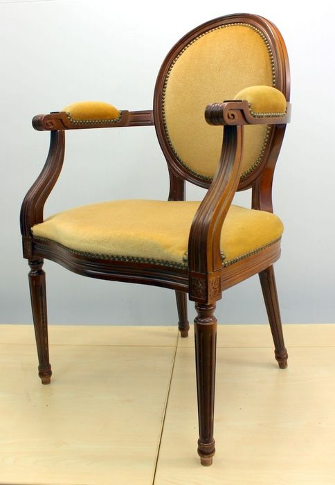 Medallion armrest chairs with velor upholstery