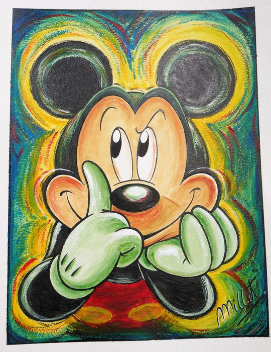 Mickey Mouse Original Acrylic Painting Millet First Catawiki