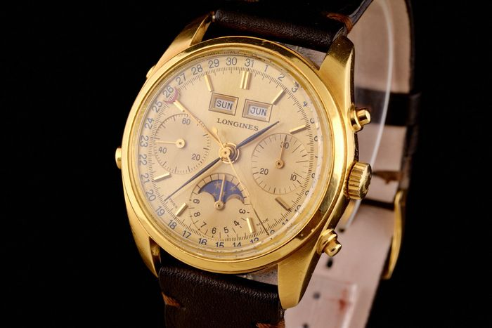 Longines - Extremaly Rare Triple Calendar Moonphase Gold-18K  - 490-3233 - Men - 1980-1989