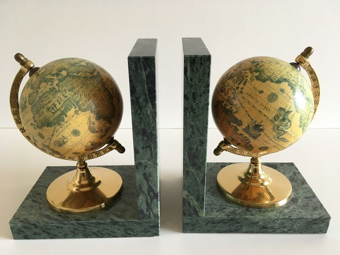 Bookends with globes - Brass, Marble, Paper