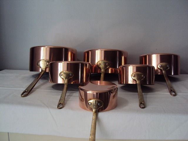 Beautiful batch of six pots old tinned bronze handle - Copper