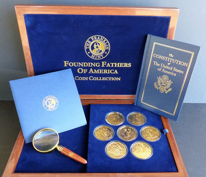 Franklin Mint - Certificates of Authenticity - Coin Collection - 24 carat gold plated