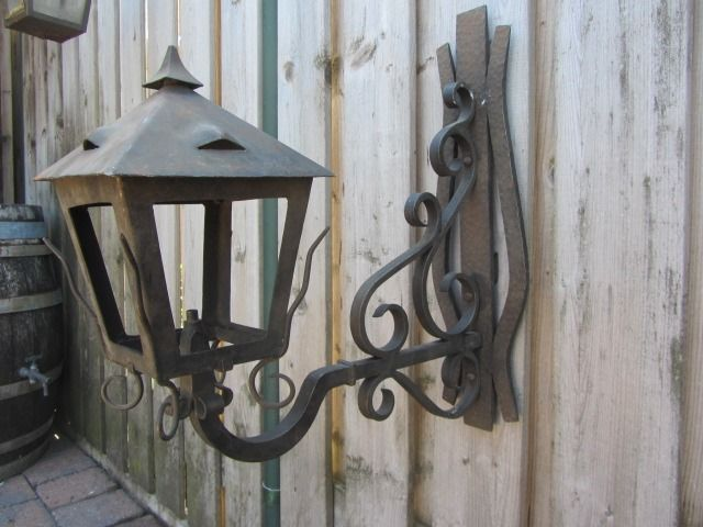 large wrought iron wall lamp (lantern) 50 cm - wrought iron