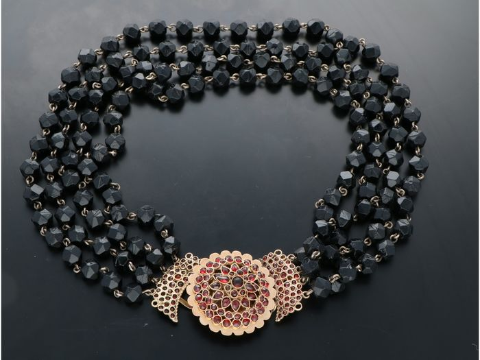 14 kt. Yellow gold - Necklace Garnet