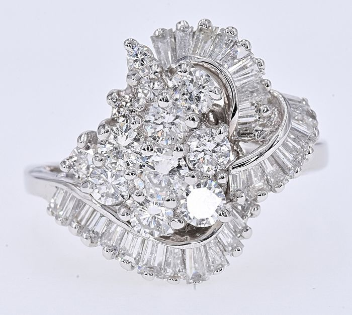 18 kt. White gold - Ring - 2.16 ct Diamond