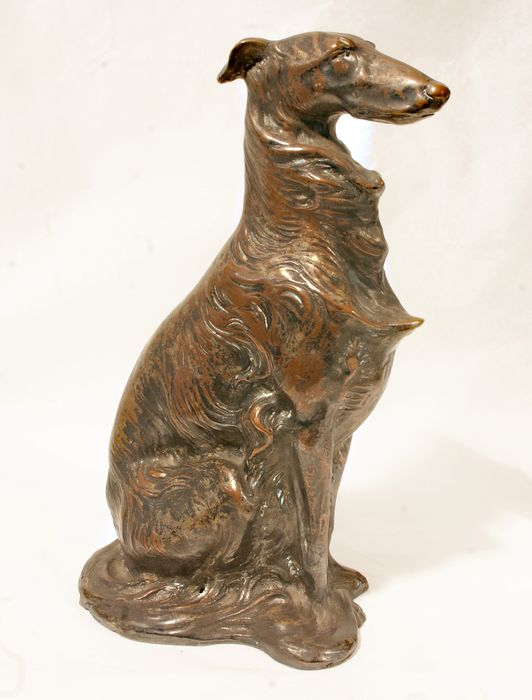 Sandro Ceci - Copper sculpture - Greyhound - Coppery terracotta or galvanoplasty - 1930-1950