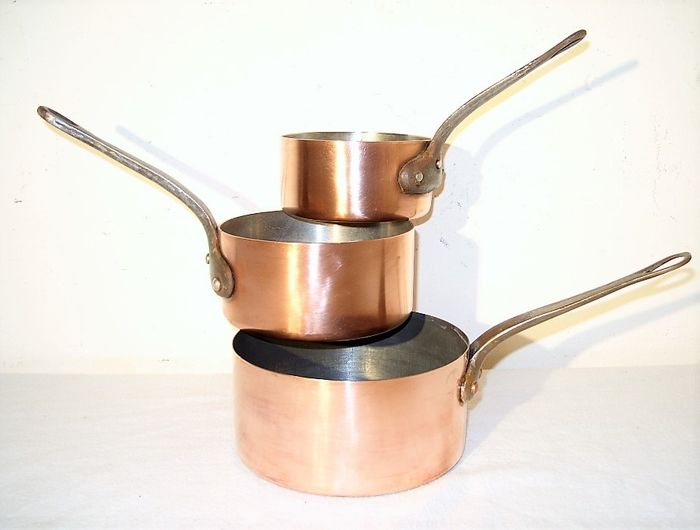 3 French pans - Copper, brass, cast iron, stainless steel