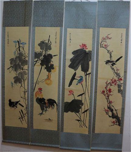 Hanging scroll, other (4) - Paper - In style of Qi Baishi - China - Late 20th century