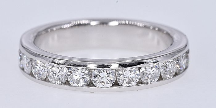 White gold - Half eternity Ring - 0.80 ct Diamond