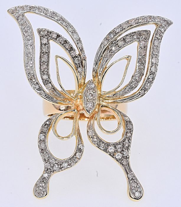 Yellow gold - Butterfly Ring - 1.14 ct Diamond