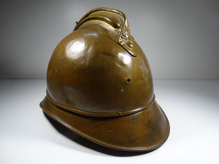 Old French Firefighter Helmet - Late 19th century - Brass