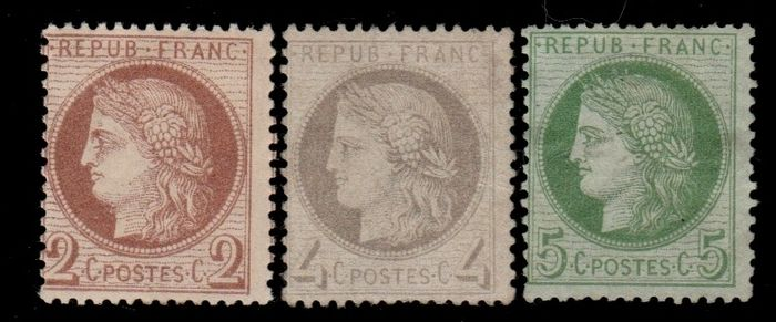 France 1872 - Ceres 2, 4 and 5 cts, 3rd Republic - Maury N°51, 52, 53