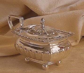 Henry  Williamson Ltd. - Victorian mustard pot with spoon - .925 silver