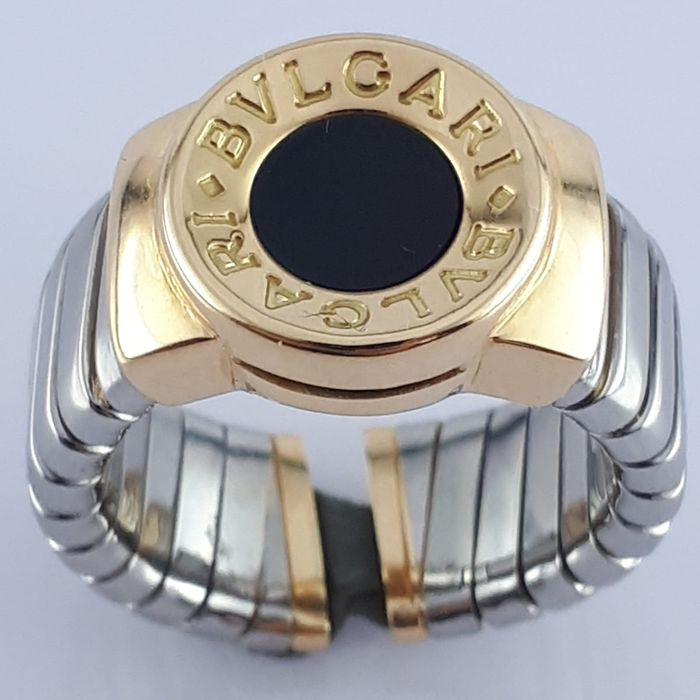Bvlgari - 18 kt. Steel, Yellow gold - Tubogas Ring With Onyx