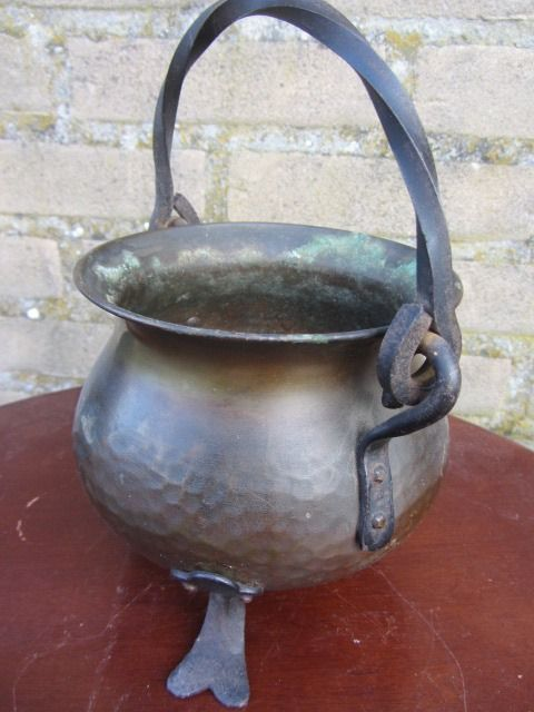 hammered copper pot with wrought iron handle and legs - brass-bronze-wrought iron