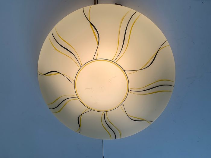 Beautiful large vintage ceiling lamp, 36 cm ceiling lamp - chick yellow opaline glass, metal