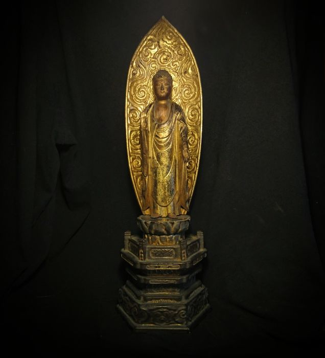 Amida Noyrai Buddha -Gold Gilt and Laquered Wood - Japan - late Edo Period 江戸時代 (1800s)