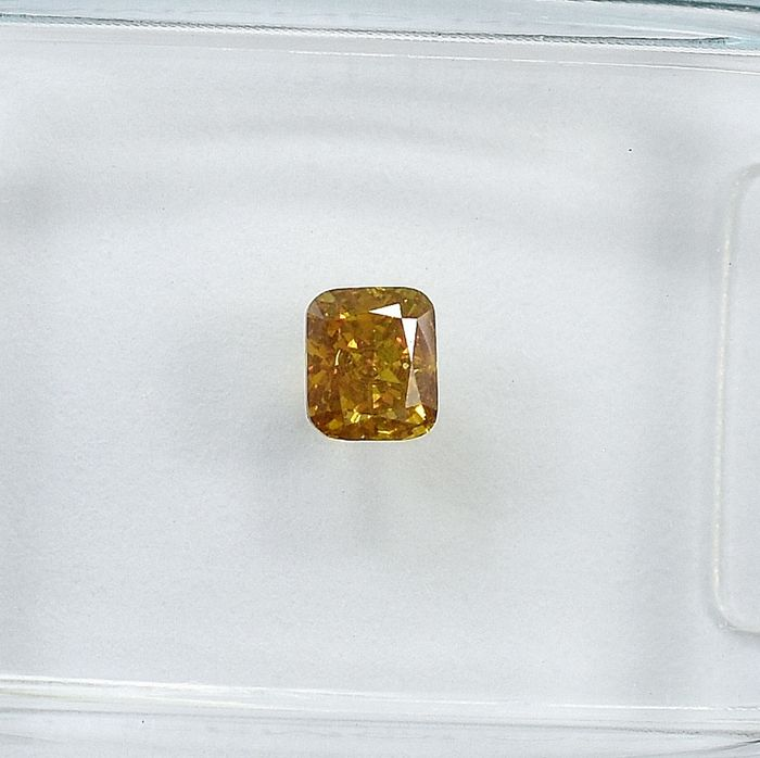 Diamond - 0.25 ct - Cushion - Natural Fancy Brownish Yellow - Si2 - NO RESERVE PRICE