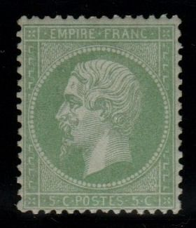 France 1862 - Napoleon perforated, 5c green - Yvert N°20