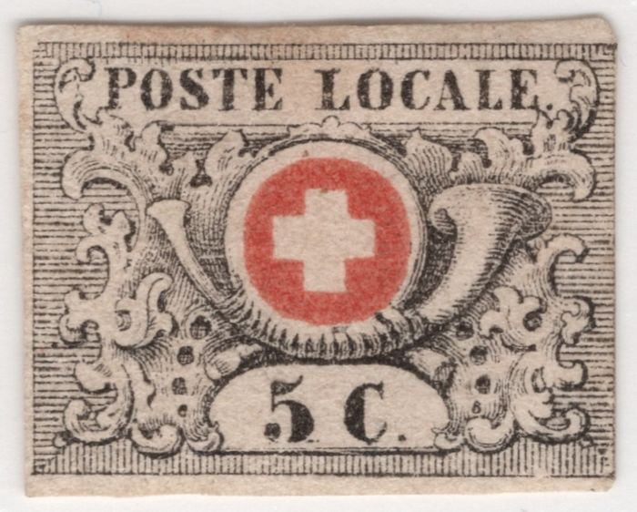 "Zwitserland 1850 - so-called ""Waadt"" 5; in rare unused condition; large SBPV certificate - Zumstein Nr. 10; Michel 2a"