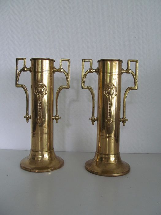 2 yellow copper art deco vases - Art Deco - Buyer