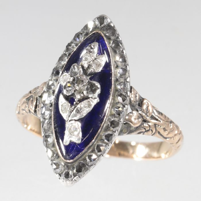 18 kt. Pink gold, Silver - Ring, Genuine Victorian Antique Gold Ring - Anno 1870 -  39 Diamonds and Blue Enamel -  Diamond
