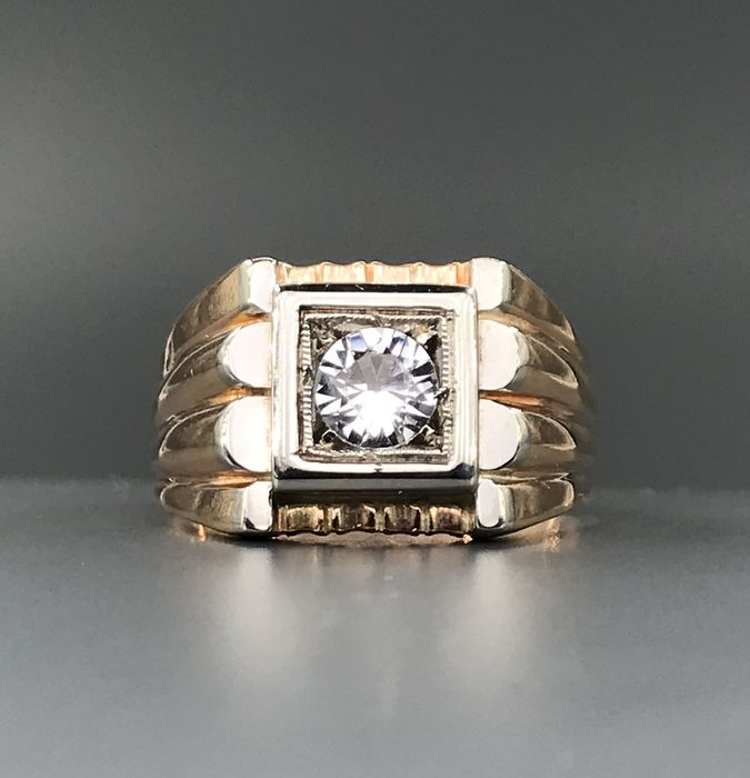 18 kt. White gold, Yellow gold - Ring - Zircon