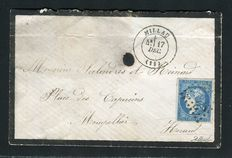 Frankrig 1870 - Rare letter from Millau to Montpellier (17 December 1870) with a no. 44B