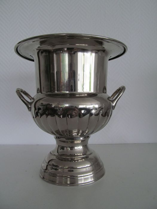 Silvered champagne or wine cooler - Silvered