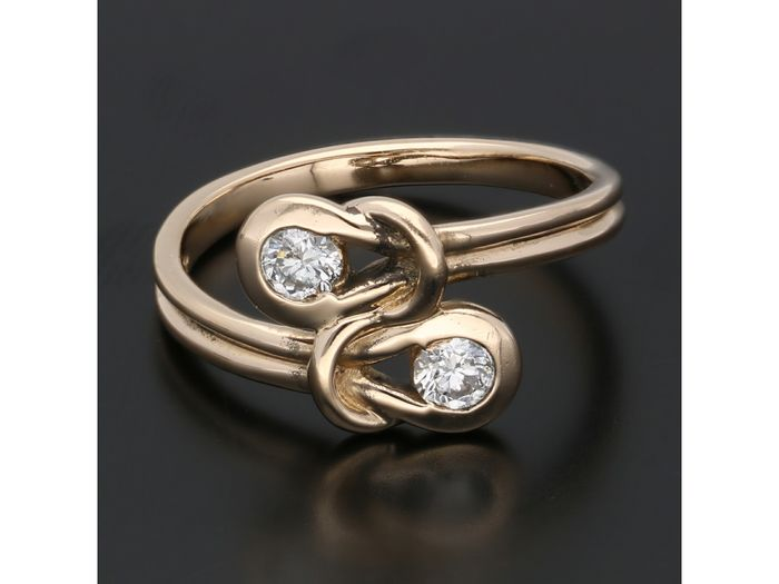 14 kt. Gold - Ring - 0.26 ct Diamond