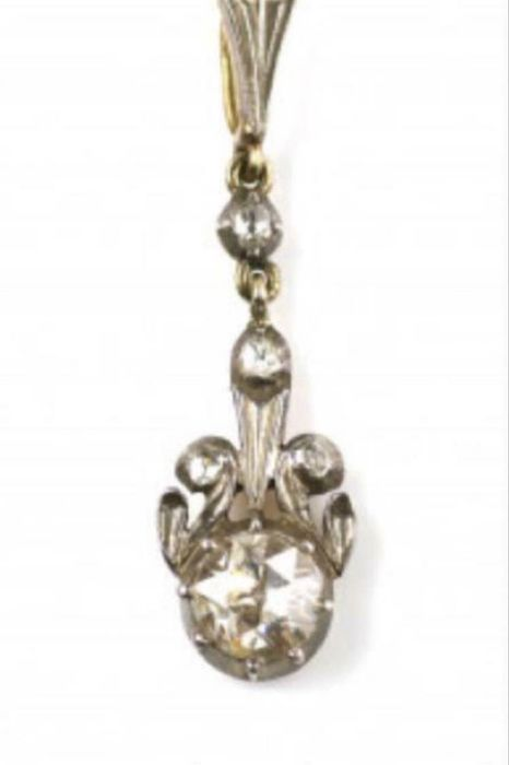 14 kt. Silver, Yellow gold - Pendant Diamond - Diamonds