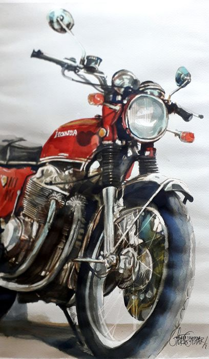 Original watercolor by Gilberto Gaspar - Honda - Honda CB 750 four - 2019
