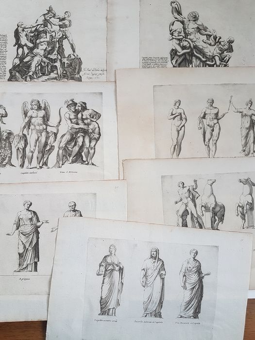 7 etchings by anonymous artists - Sculptures from the Capitoline Museums and the Farnese Collection