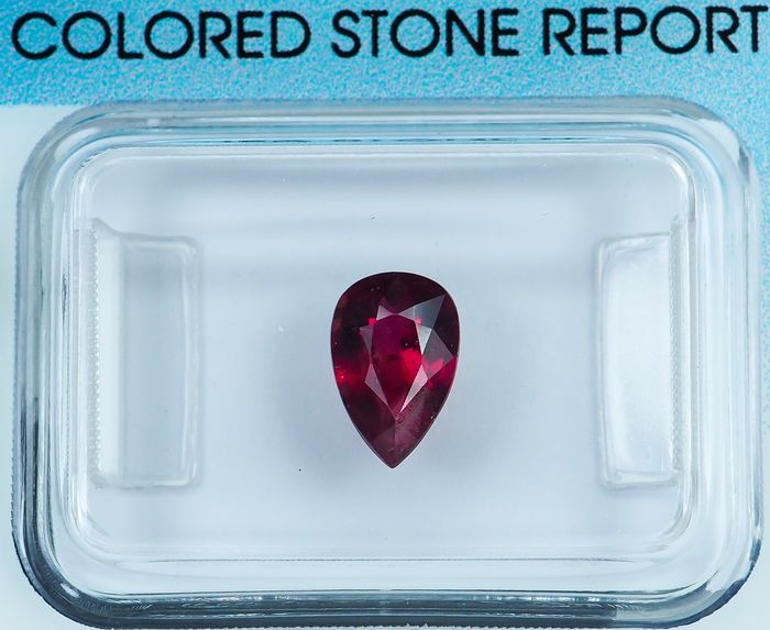 * No Reserve * Deep Purplish Red Ruby - 1.06 ct