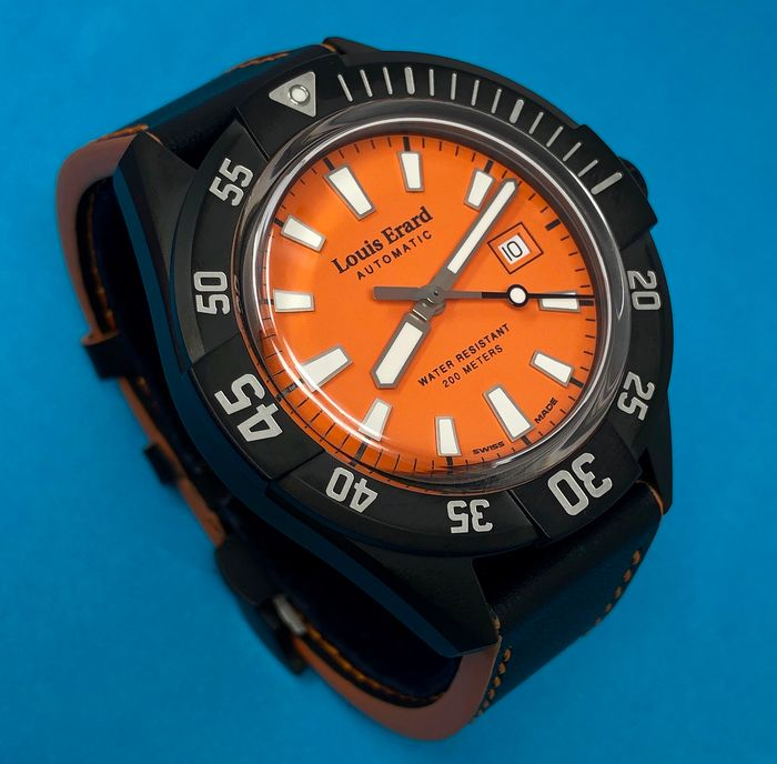 """Louis Erard - Automatic Diver Watch Sportive Collection Orange Dial """"NO RESERVE PRICE"""" - 69107NN17.BVDN57 - Homme - Brand New"""