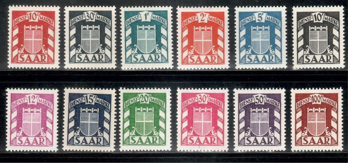 Saarland 1949 - Official stamps - complete - Michel D 33-44