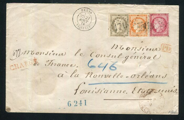Frankrijk 1874 - Rare registered letter from Grenelle, Paris bound for New Orleans (USA, 1874)