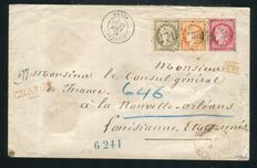 Frankrig 1874 - Rare insured letter from Grenelle, Paris for New Orleans (USA, 1874)