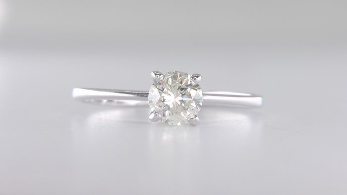 14 kt. White gold - Ring - Clarity enhanced 0.75 ct Diamond