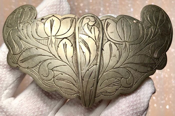 Post-medieval Silver Huge Belt Buckle Richly Ornamented with a Flower Motif.