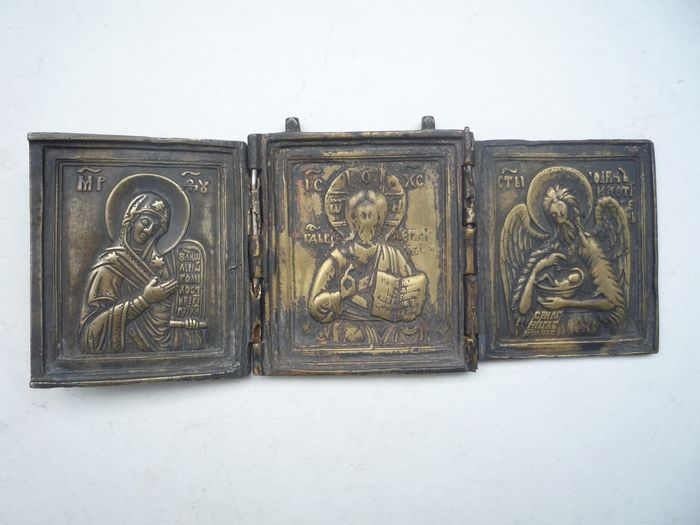 Russian travel icon Deesis. Triptych - Bronze