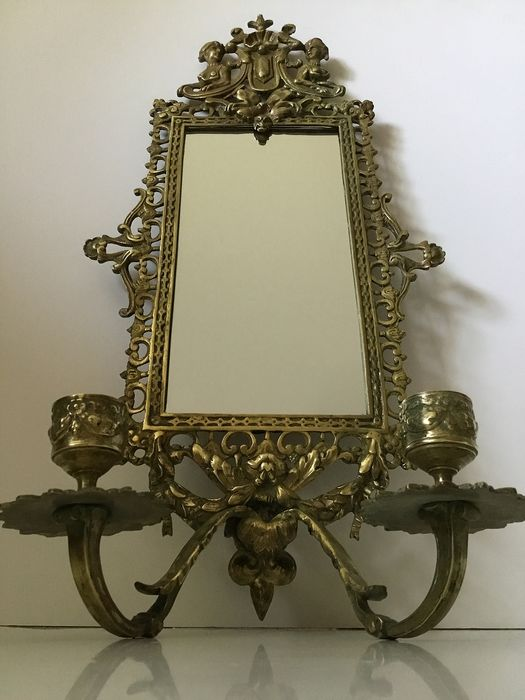 A 2-armed wall candlestick with mirror in the style of Daniel Marot - Brass - Second half 19th century
