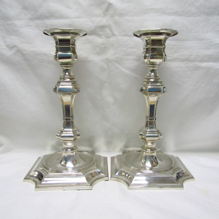 PEDRO DURÁN. Candlesticks couple. - .915 silver - Spain - Second half 20th century