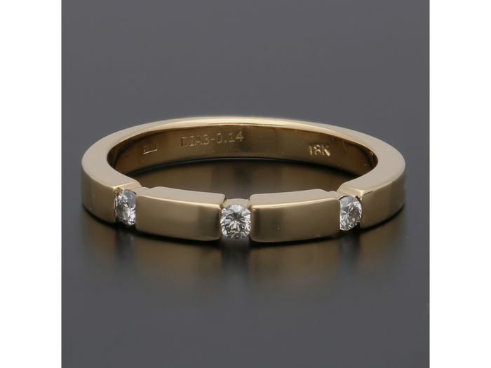 18 kt. Gold - Ring - 0.14 ct Diamond