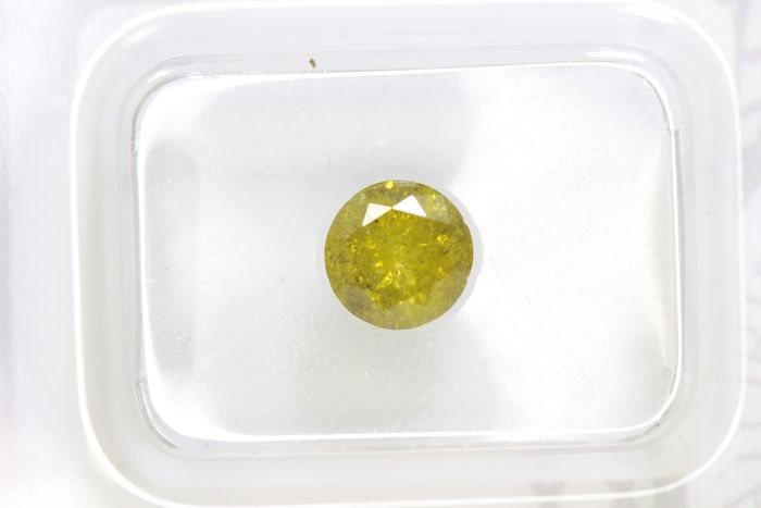 Diamant - 0.91 ct - Brillant - ( Color Treated ) - Deep Greenish Yellow  - * NO RESERVE PRICE *
