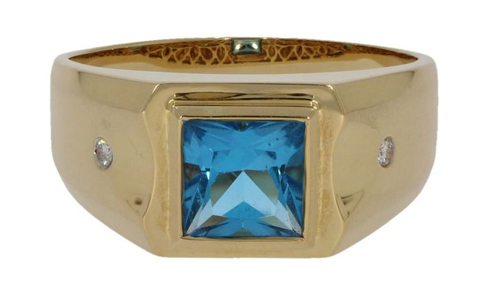 18 kt. Gold - Ring - 0.02 ct Diamond - Topaz