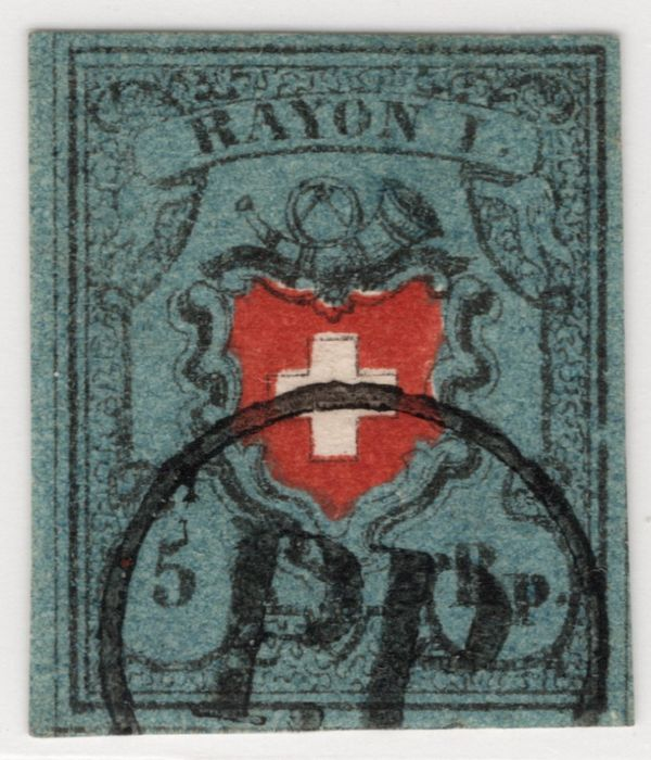 Zwitserland 1850/1854 - Rayon I with framed cross. P.P. in a circle; large SBPV certificate - Zumstein Nr. 15I.c.2.05a