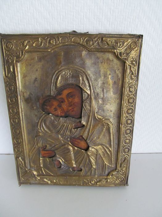Old wooden icon with copper fittings - Wood and copper